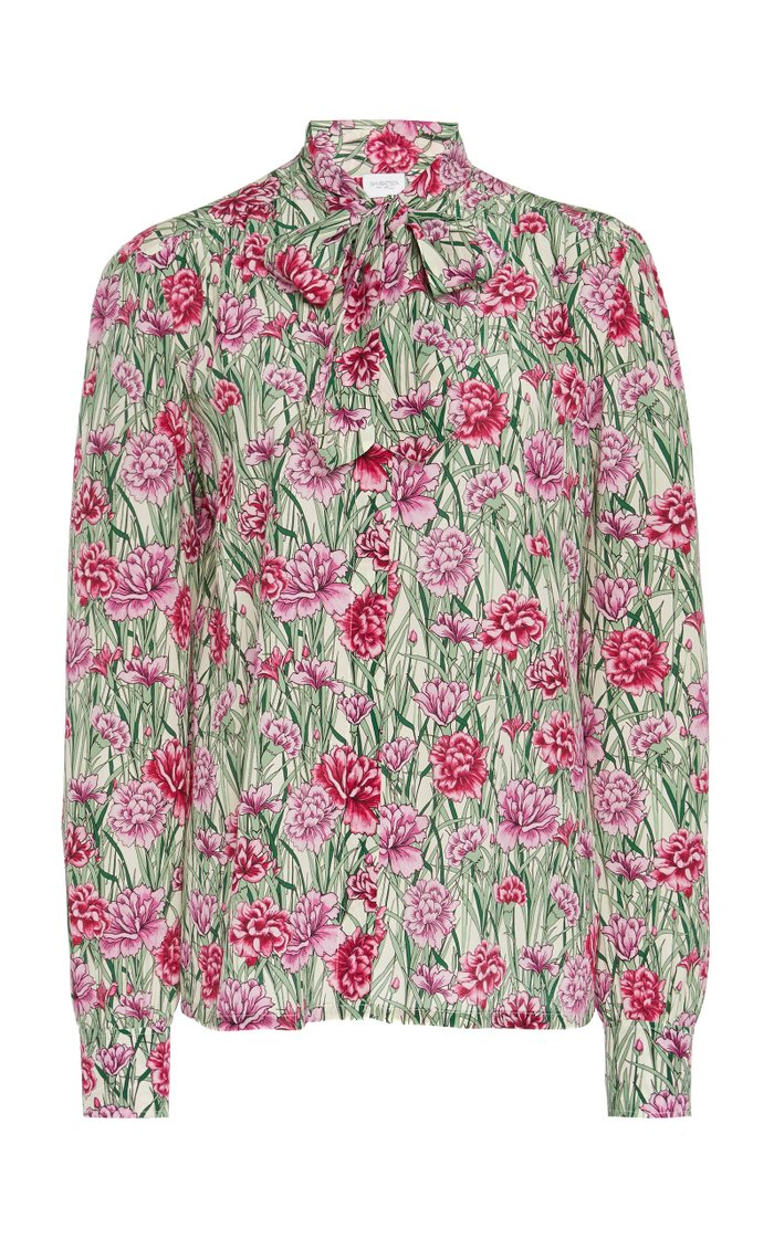 Pussy-Bow Floral-Print Silk Blouse