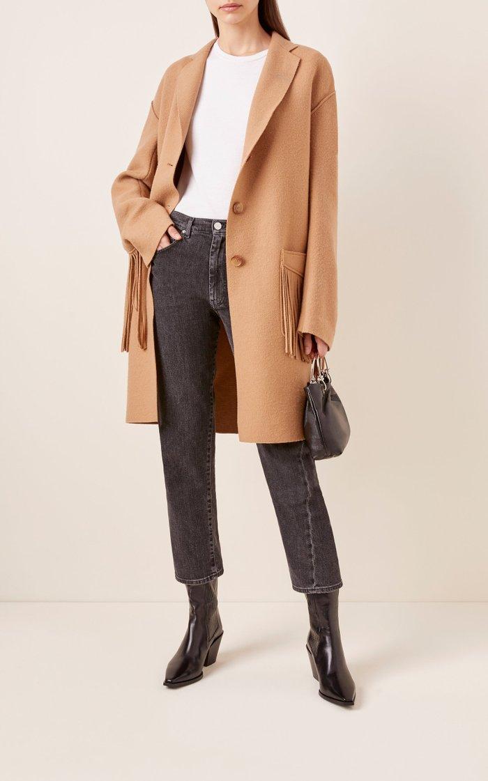Fringed Wool-Blend Coat