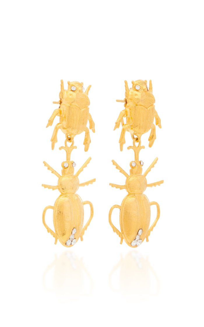 Gold-Tone And Crystal Earrings