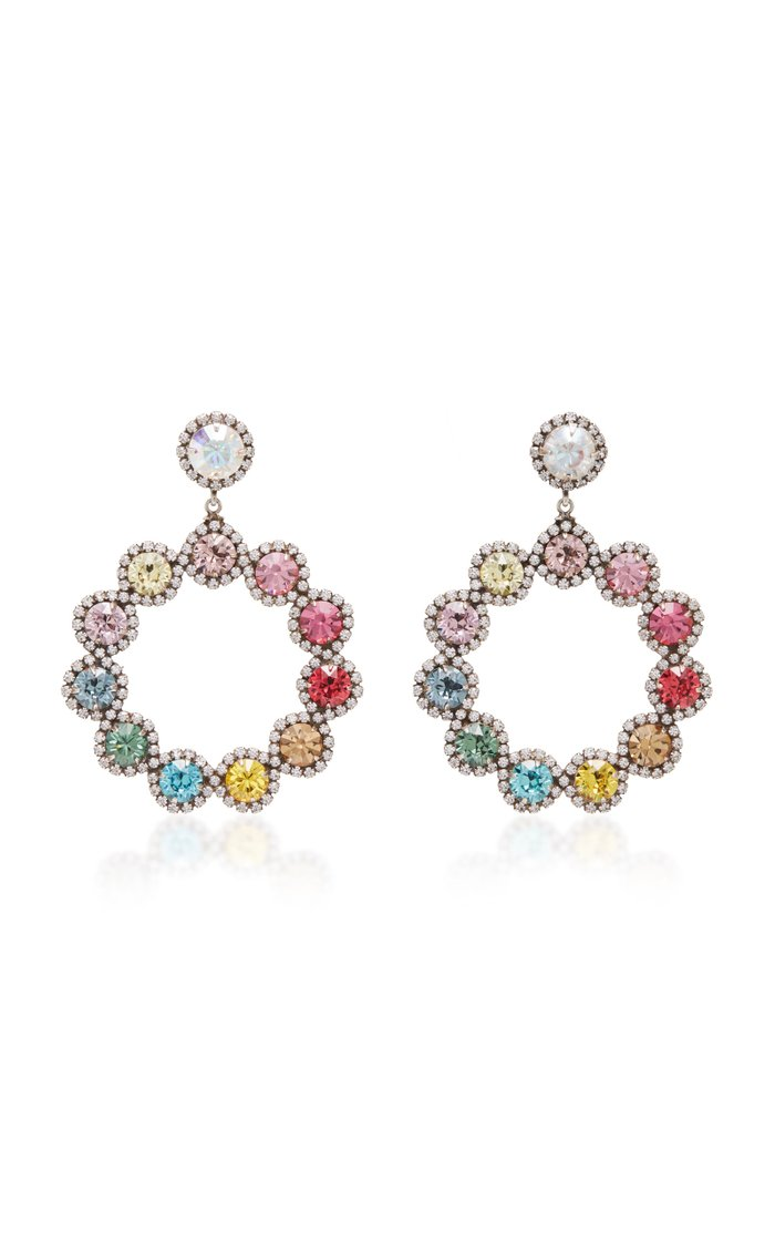 Isabelle Rainbow Brass and Crystal Hoop Earrings