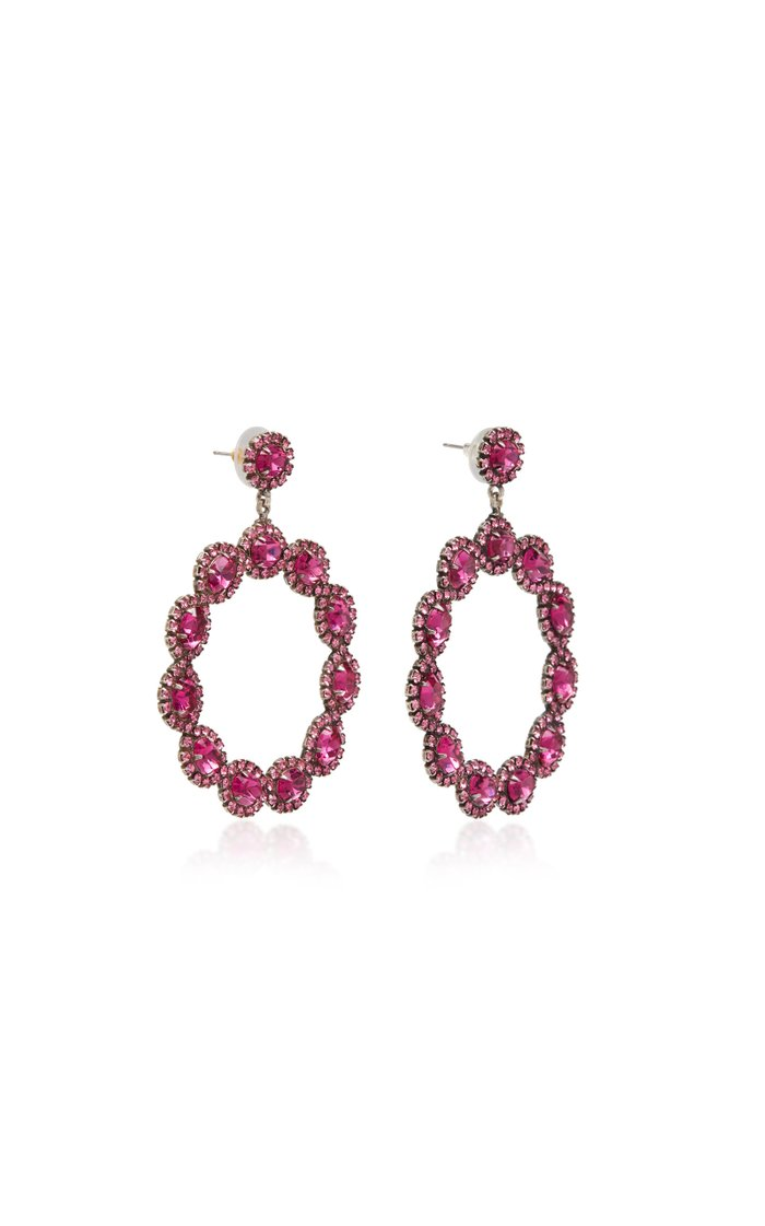 Isabelle Pink Brass and Crystal Hoop Earrings