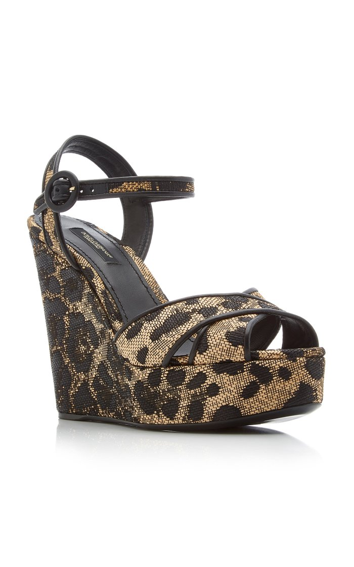 Leopard-Print Leather and Raffia Platform Sandals