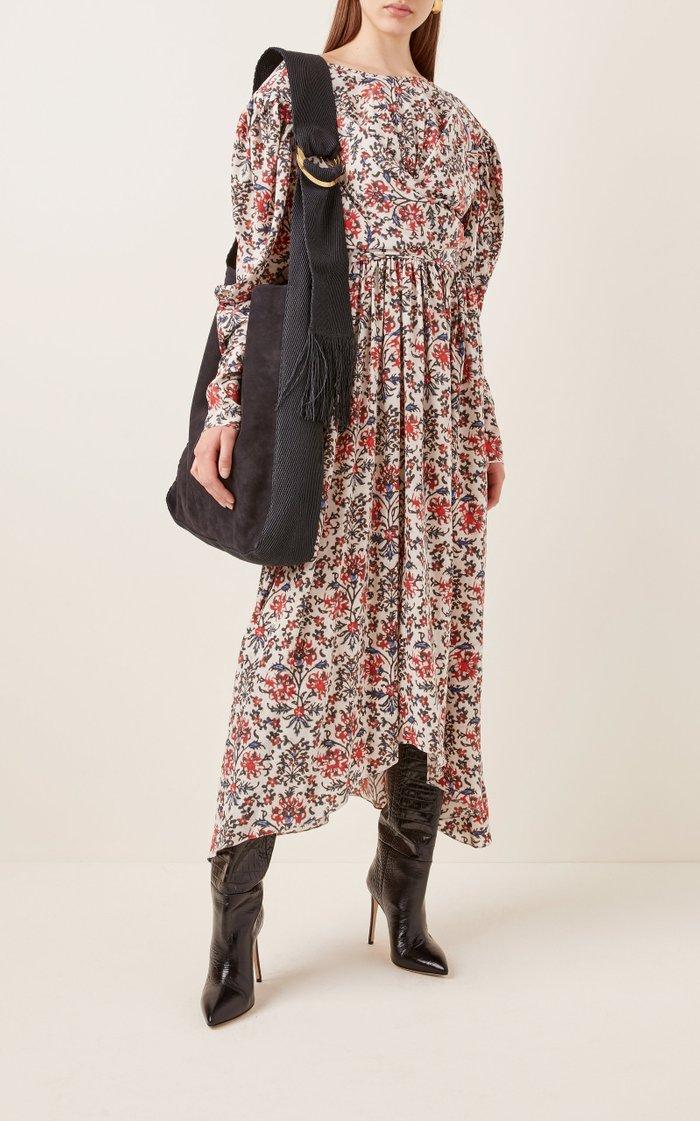 Bakoo Canvas-Trimmed Suede Shoulder Bag