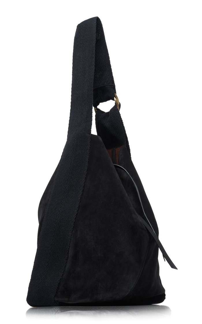 Bakoo Canvas-Trimmed Suede Shoulder Bag