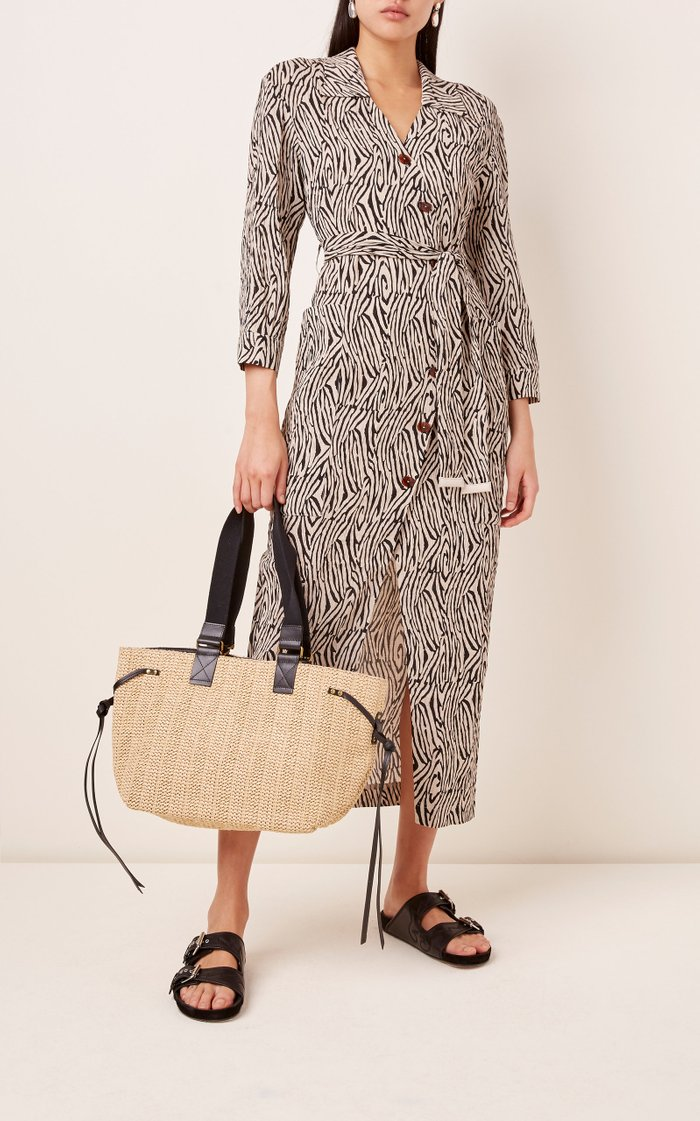 Bagya Leather-Trimmed Straw Tote