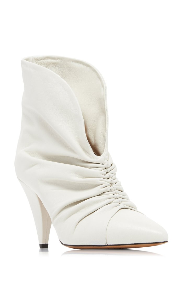 Lasteen Ruched Leather Ankle Boots