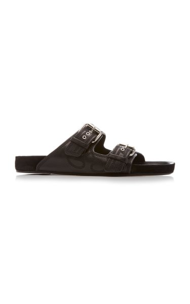Lennyo Embroidered Leather Slides