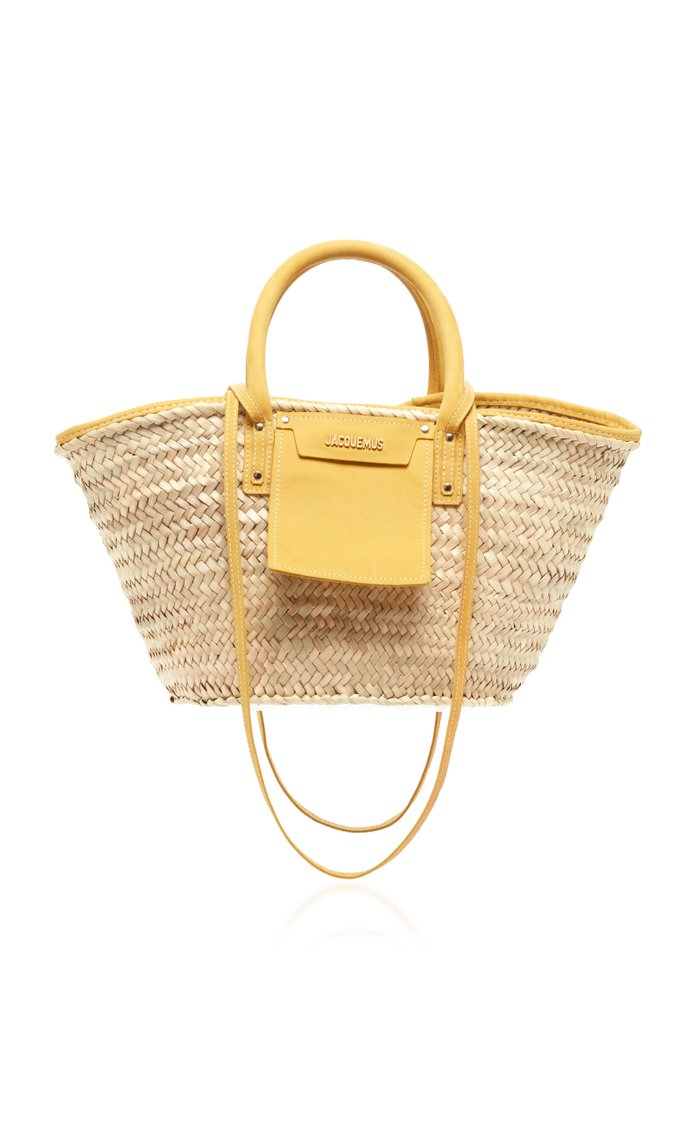 Le Panier Soleil Suede-Trimmed Straw Tote