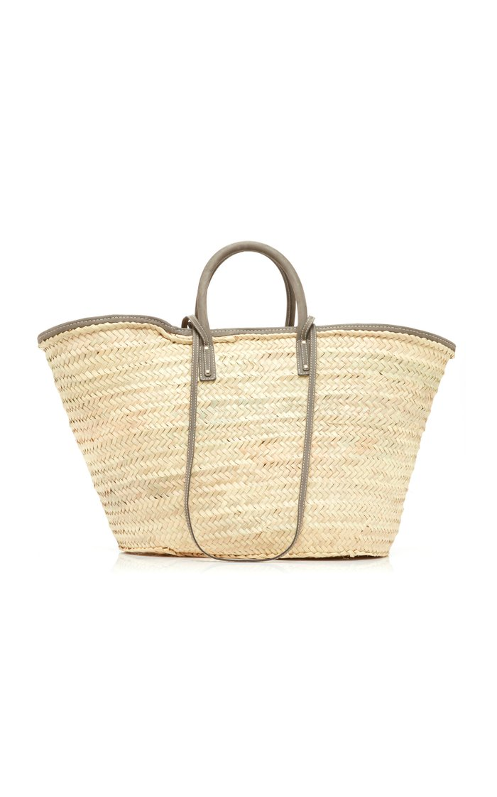 Le Grand Panier Soleil Suede-Trimmed Straw Tote