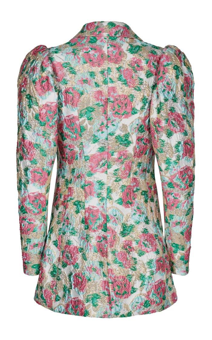 Carol Button-Embellished Floral-Jacquard Mini Dress
