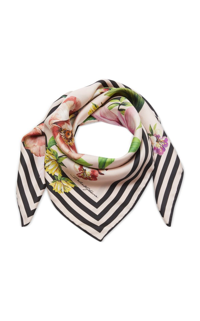 Floral-Print and Striped Silk Scarf