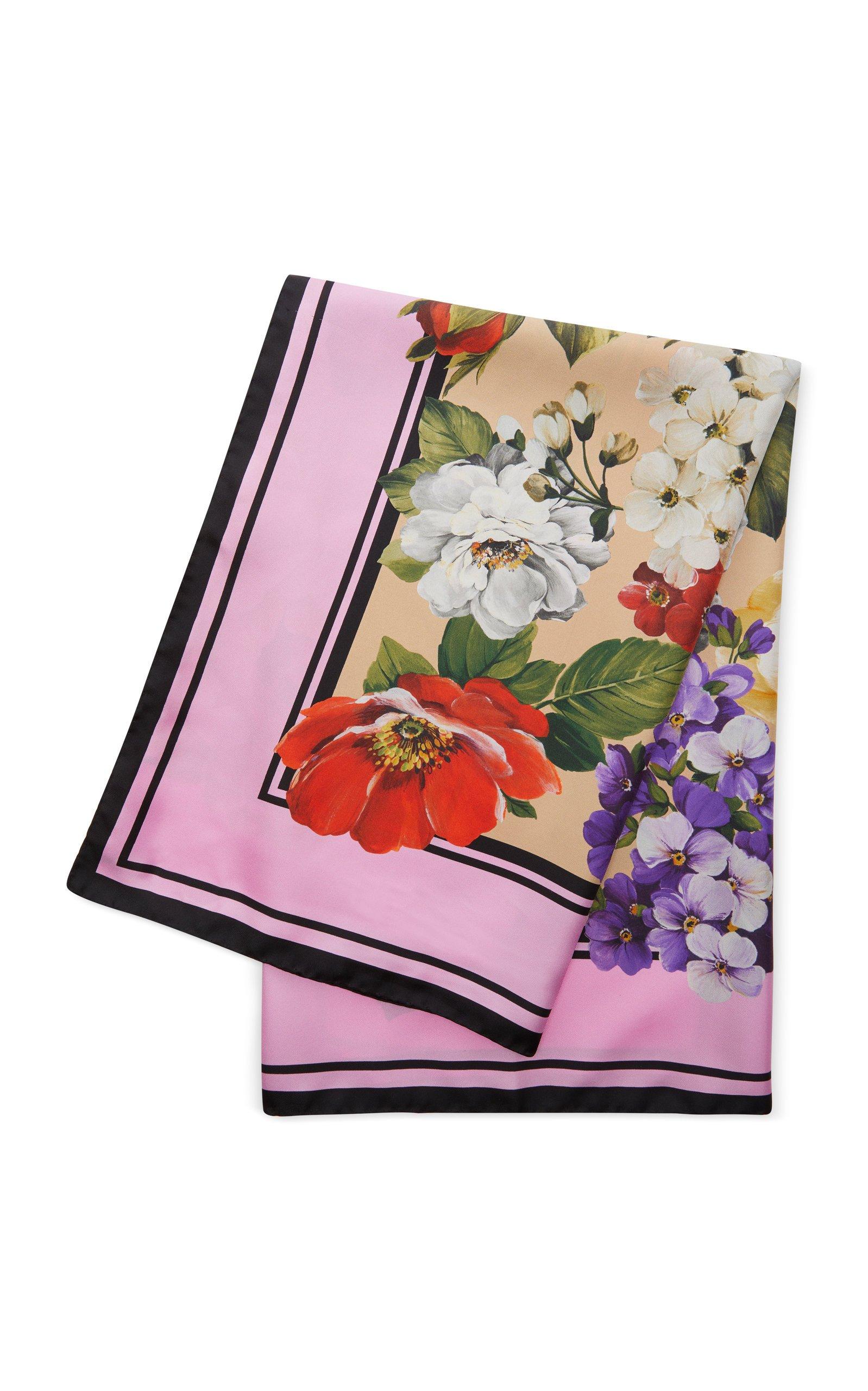 "NWT $425 DOLCE /& GABBANA White Tulip Print 100/% Silk Scarf Wrap 72/"" x 22/"" Auth"