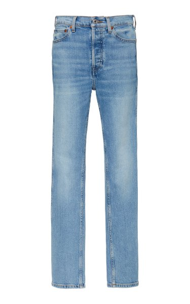 Double Needle Mid-Rise Slim-Leg Jeans