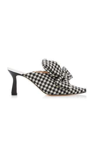 Lotte Bow-Detailed Gingham Wool Mules