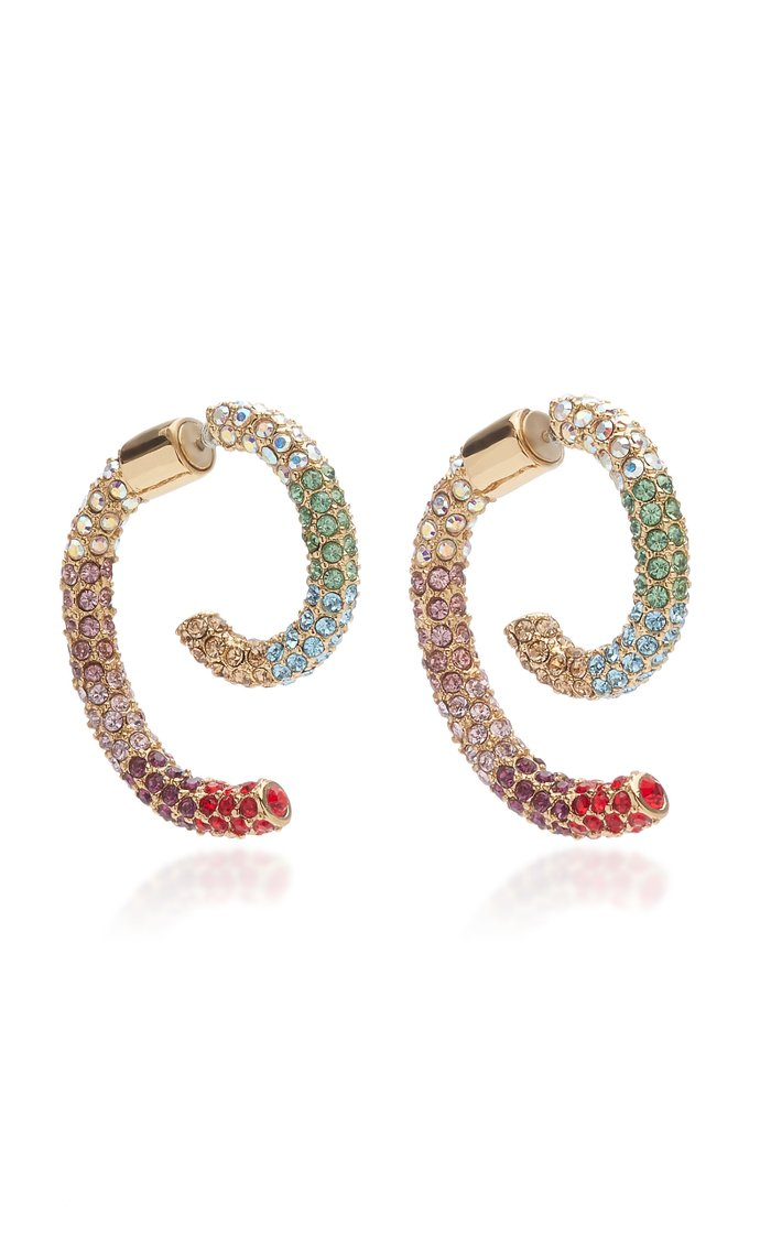 Luna Convertible 12K Gold-Plated Crystal Earring Set
