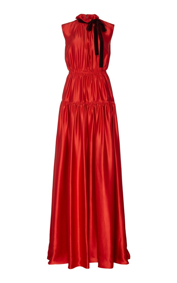 Giona Tie-Detailed Tiered Silk-Satin Gown
