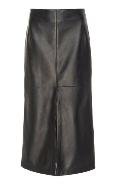 Box-Pleated Nappa Leather Midi Skirt