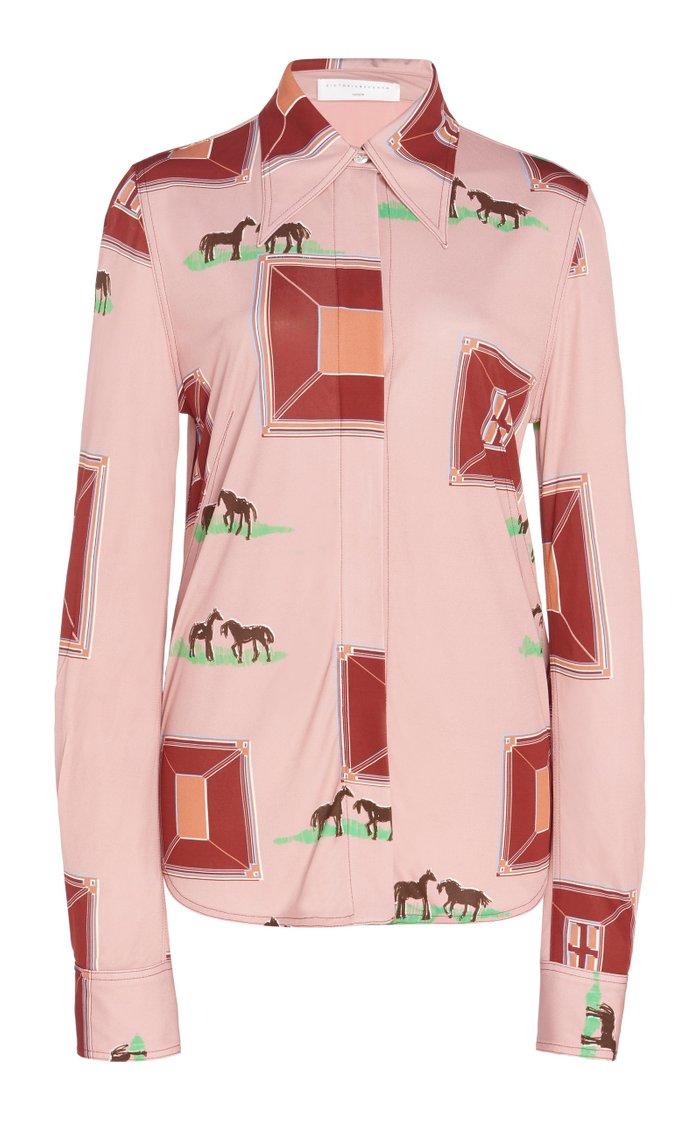 Printed Crepe Button-Down Shirt