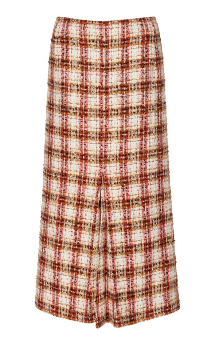 Box-Pleated Tweed Midi Skirt