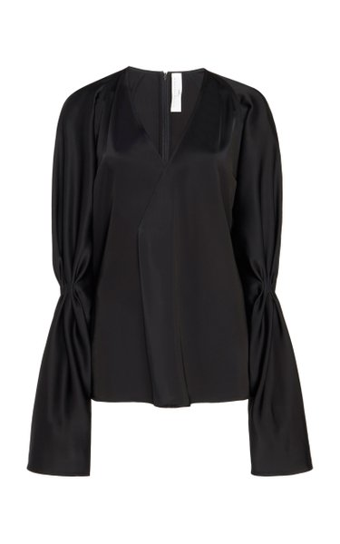 Gathered Sleeve Sateen V-Neck Blouse