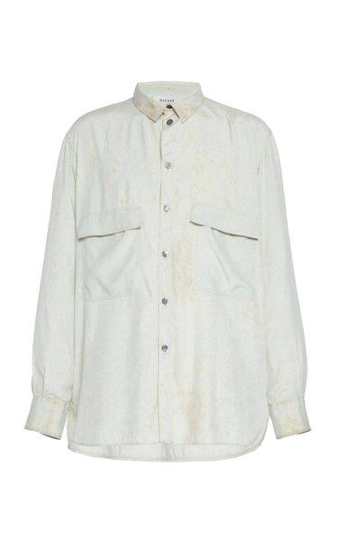 Marbled Silk Button-Up Shirt