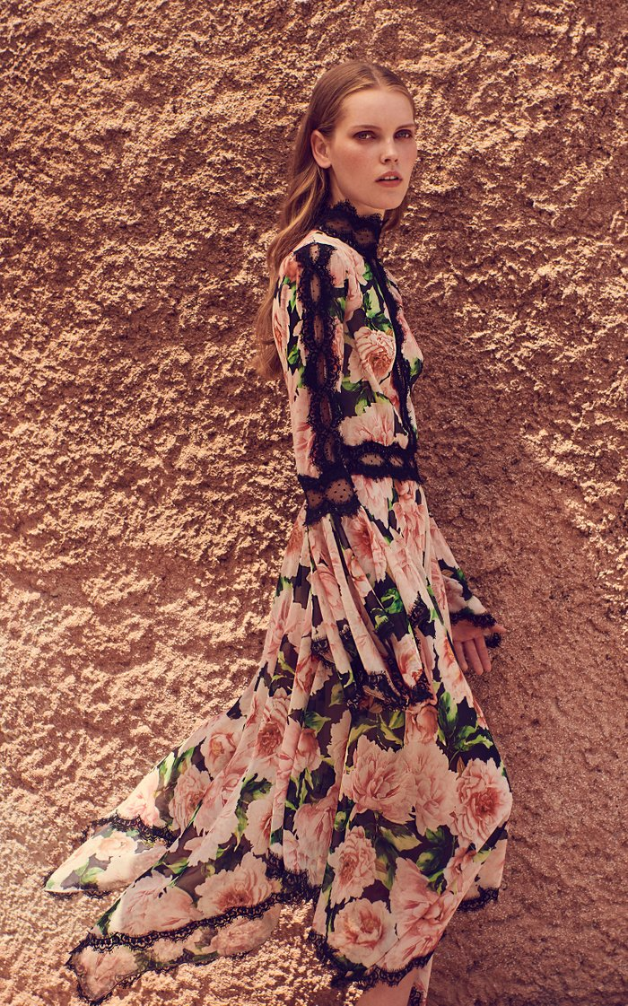 Lace-Trimmed Floral Georgette Midi Dress