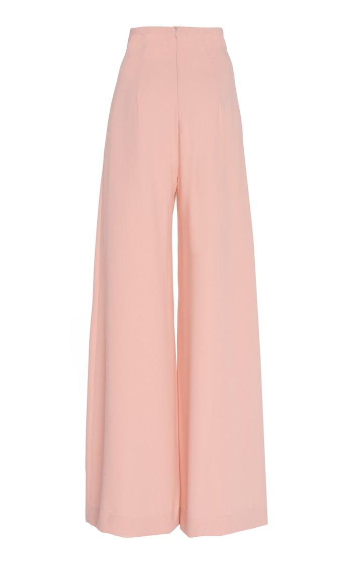 Crepe High-Waist Pants