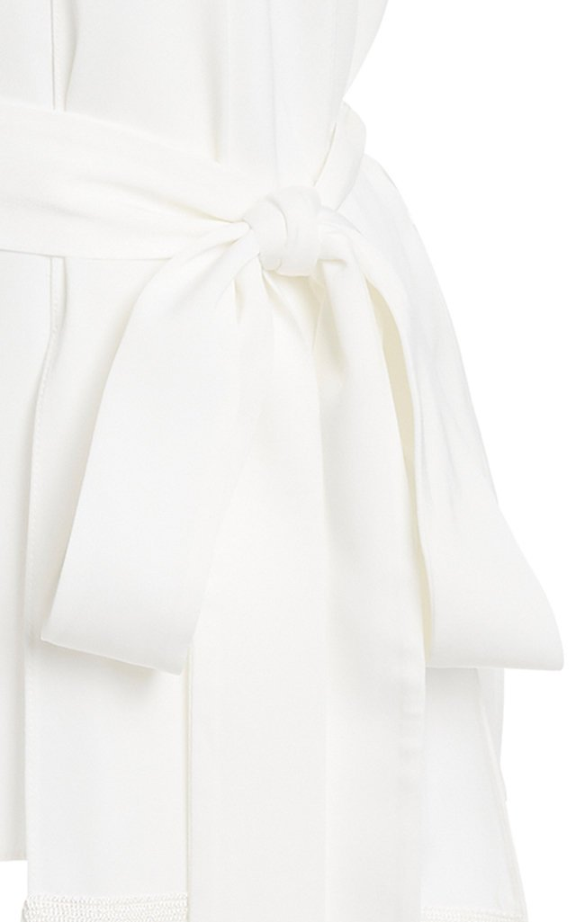 Fringed Satin-Crepe Scarf Top