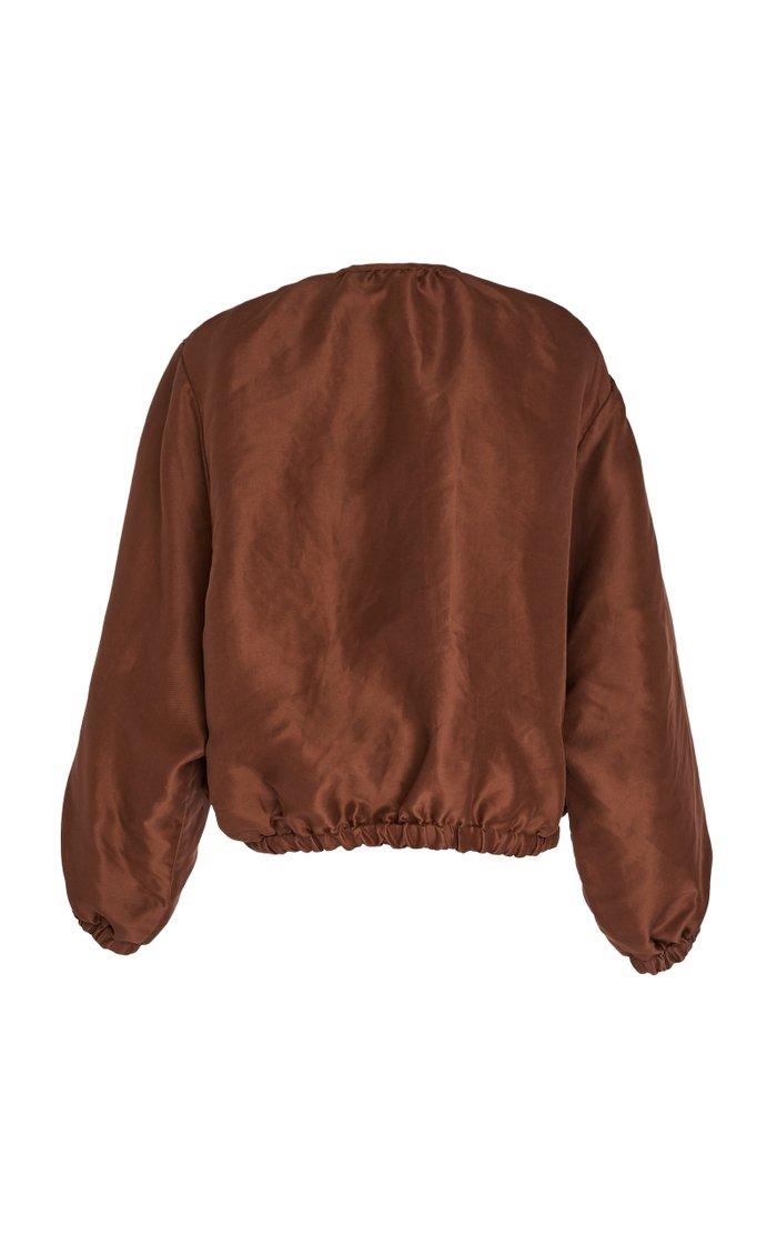 Neffa Oversized Silk Taffeta Blouson Jacket