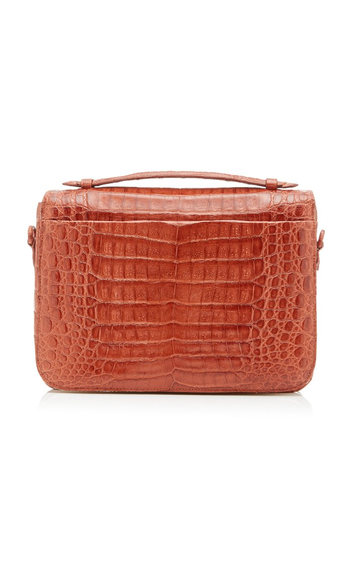 Lucy Large Linen-Trimmed Crocodile Bag