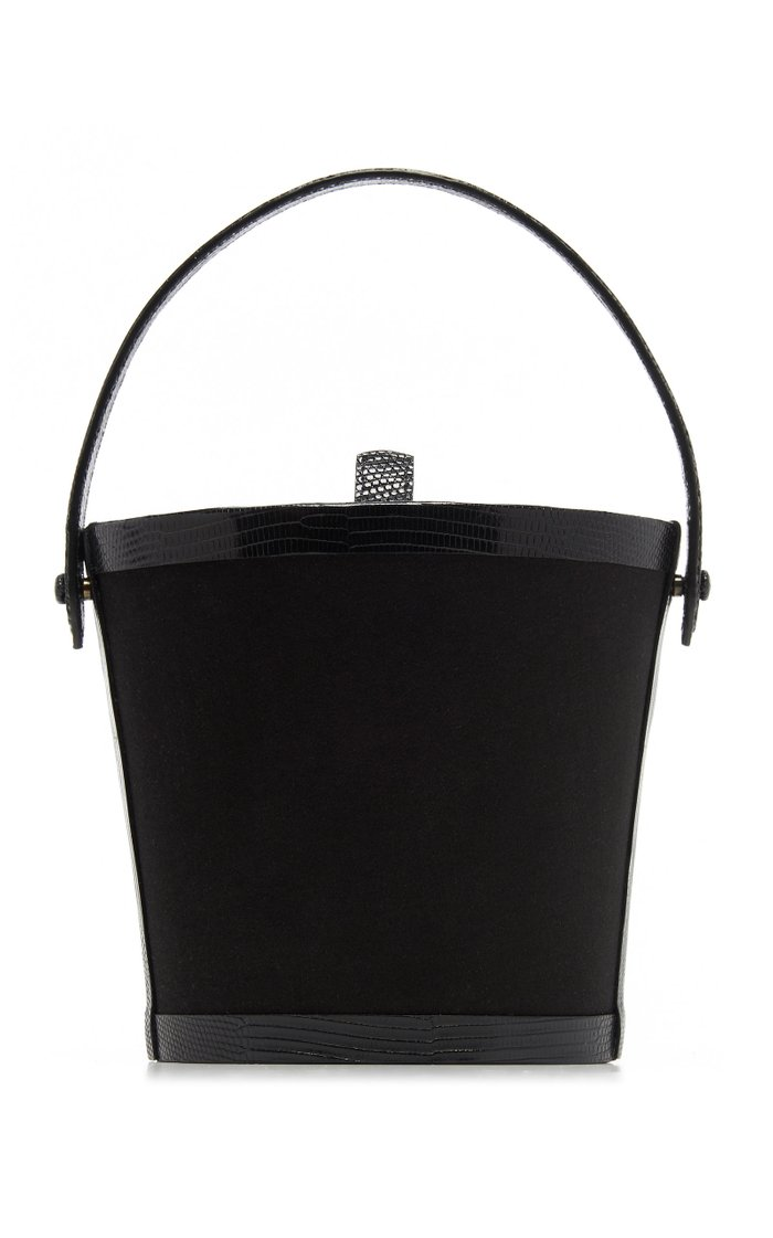 Lizard-Trimmed Satin Bucket Bag