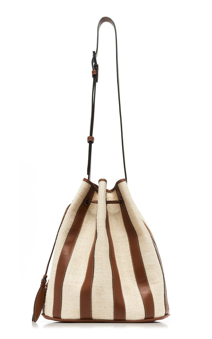Drawstring Paneled Leather And Canvas Bag