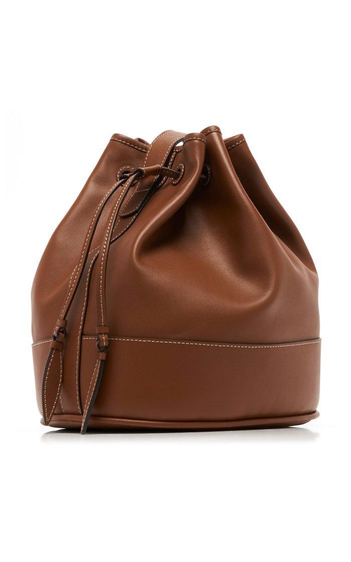 Drawstring Leather Shoulder Bag