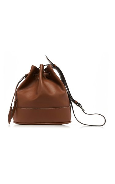 Drawstring Leather Shoulder Bag