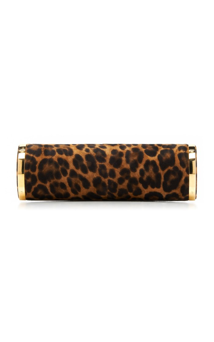 The Roll Leopard-Print Suede Clutch