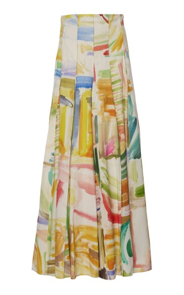 Pleated Printed Cotton-Poplin Maxi Skirt
