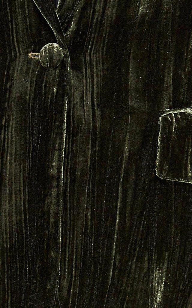 Velvet Single-Breasted Blazer
