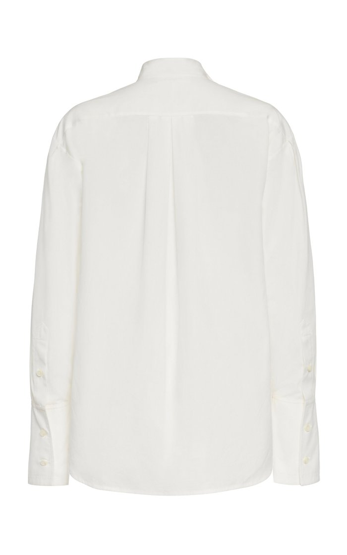 Easy Pleated Button-Down Cotton Shirt