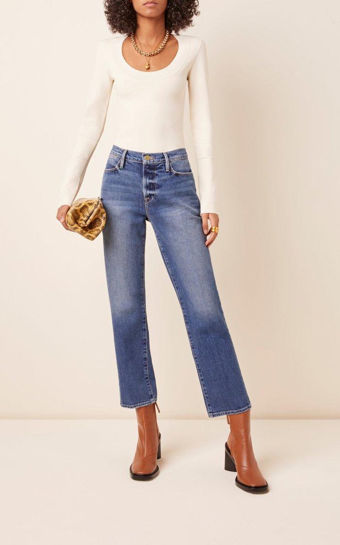Le High Stretch Denim Straight-Leg Jeans