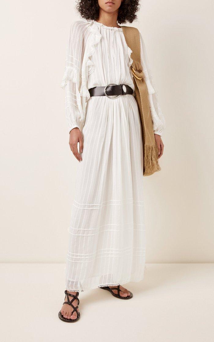 Justine Ruffled Crepe Maxi Dress