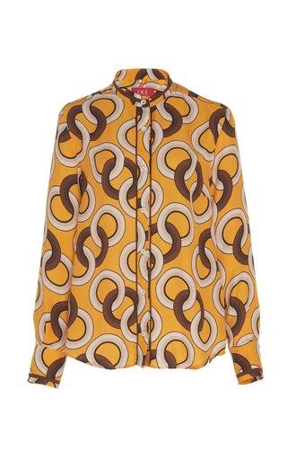 Eurito Printed Silk Pajama Top