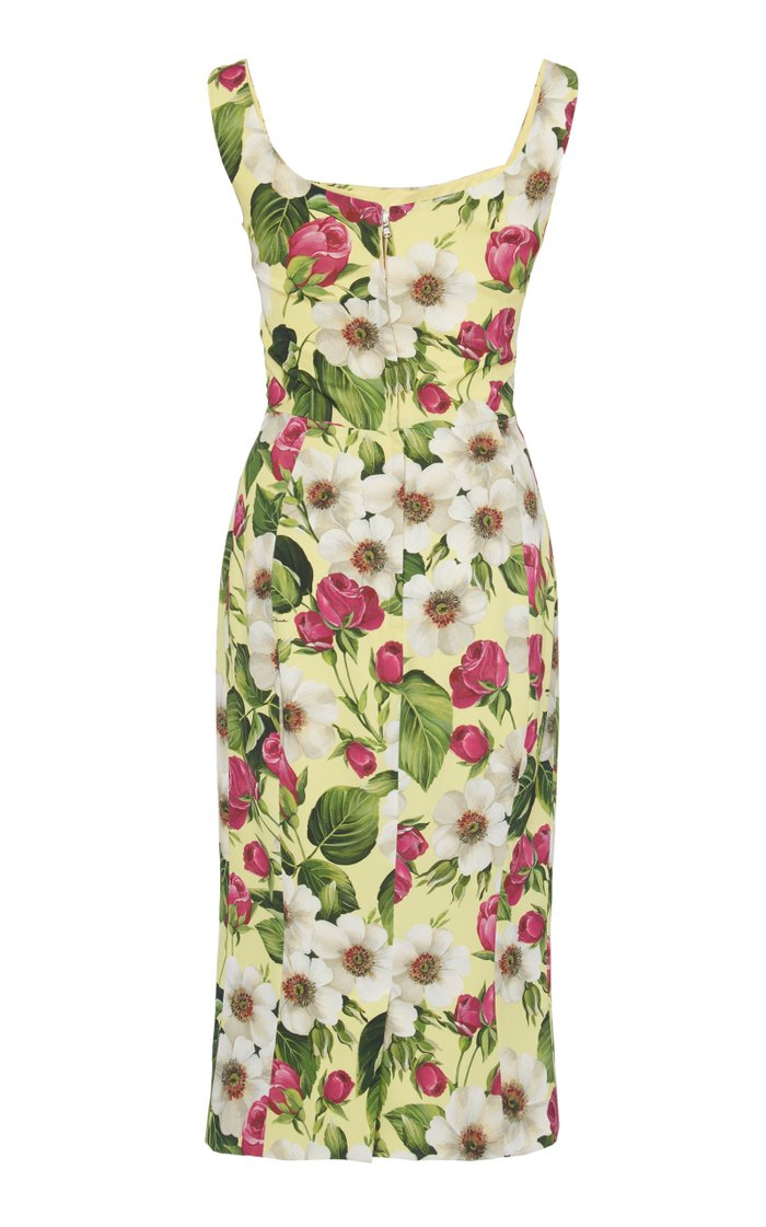 Floral-Print Square-Neck Stretch-Silk Dress