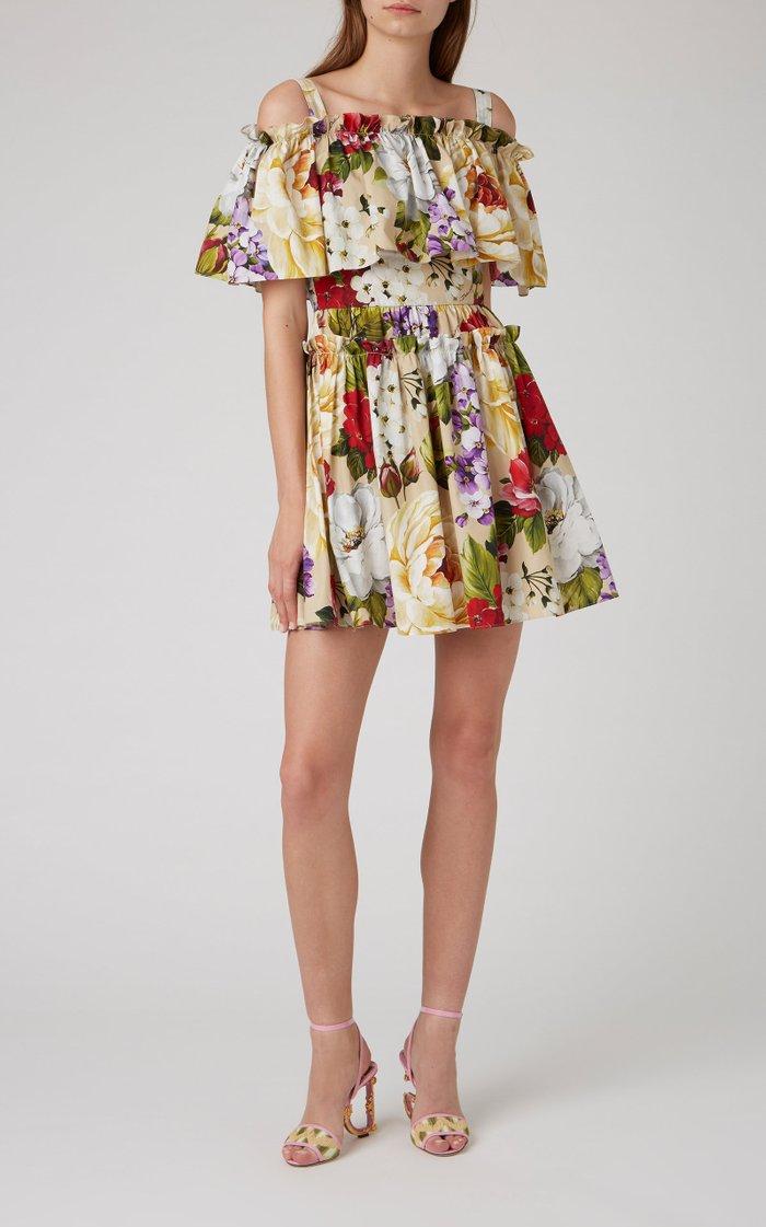 Off-The-Shoulder Floral-Print Cotton Mini Dress