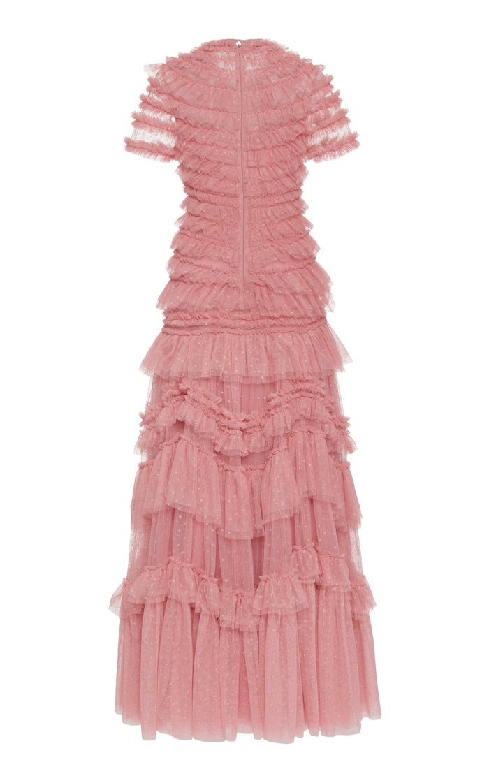 Wild Rose Ruffled Chiffon Gown