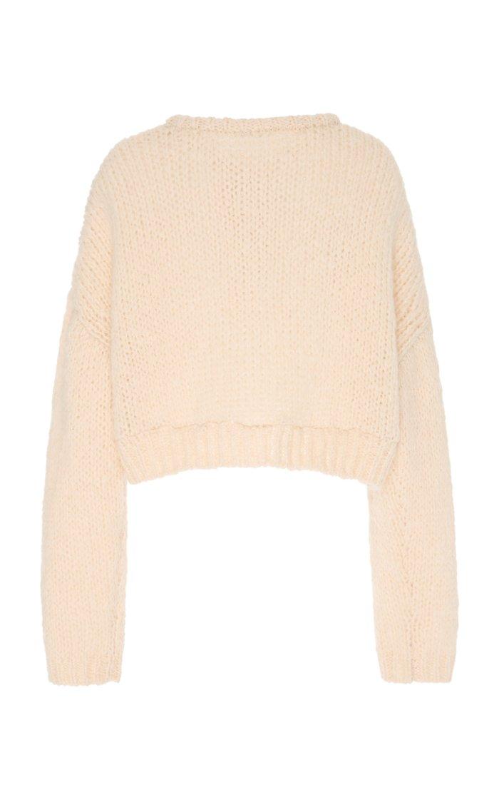 Post Floral-Appliquéd Knitted Cardigan