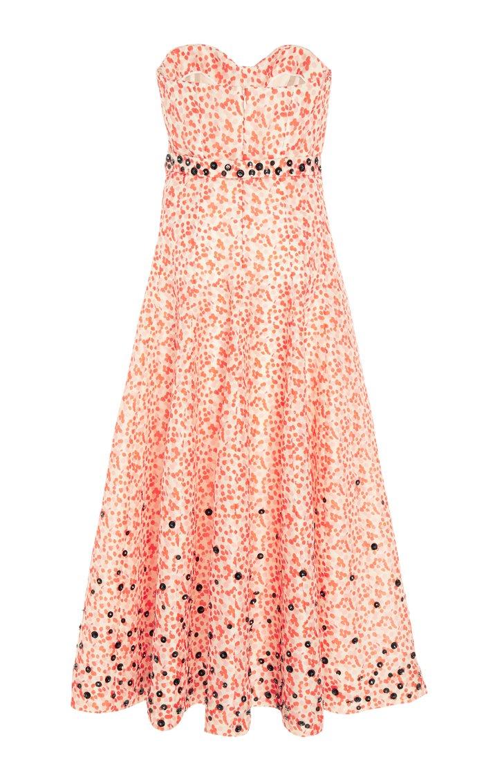 Embroidered Silk-Organza Strapless Dress