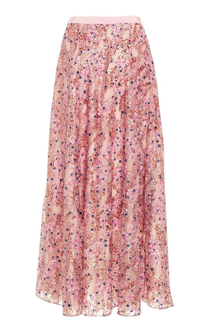 Sequined Chiffon Skirt
