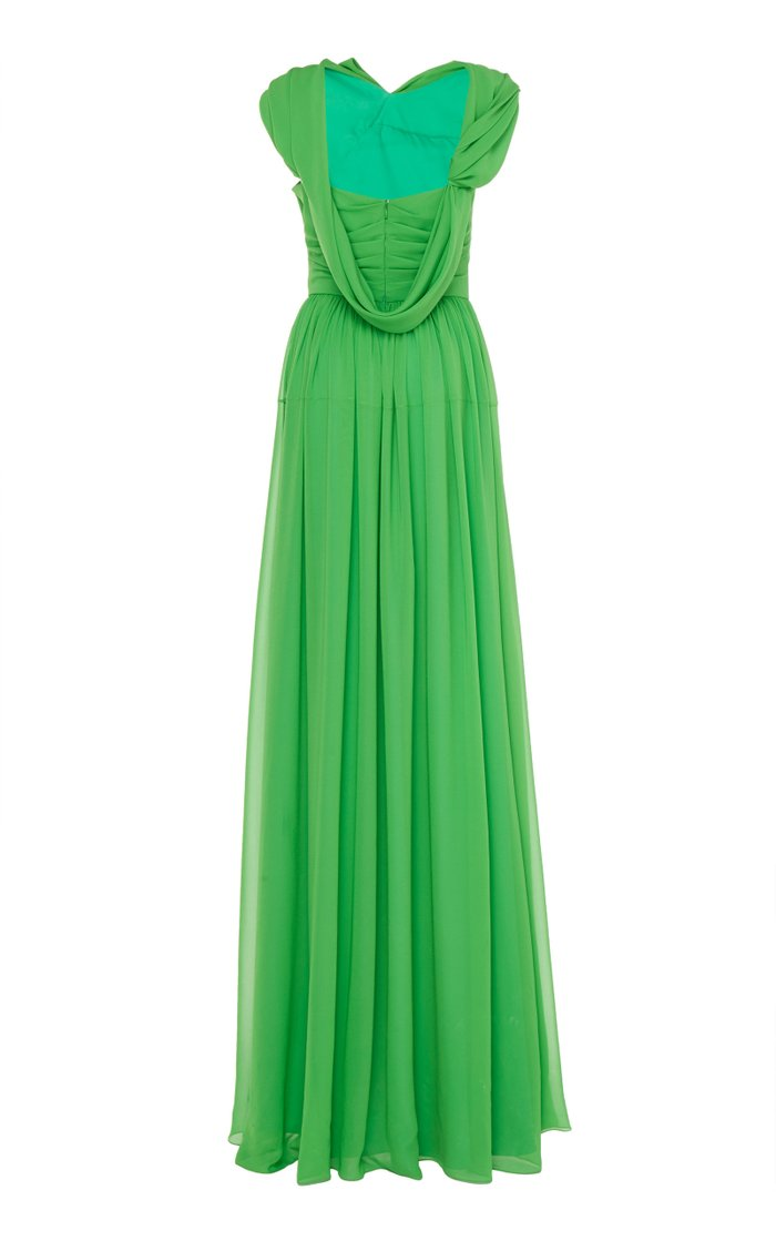 Draped Silk-Georgette Gown