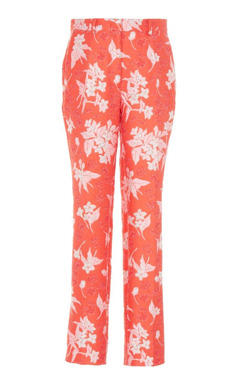 Floral-Jacquard Slim-Leg Pants
