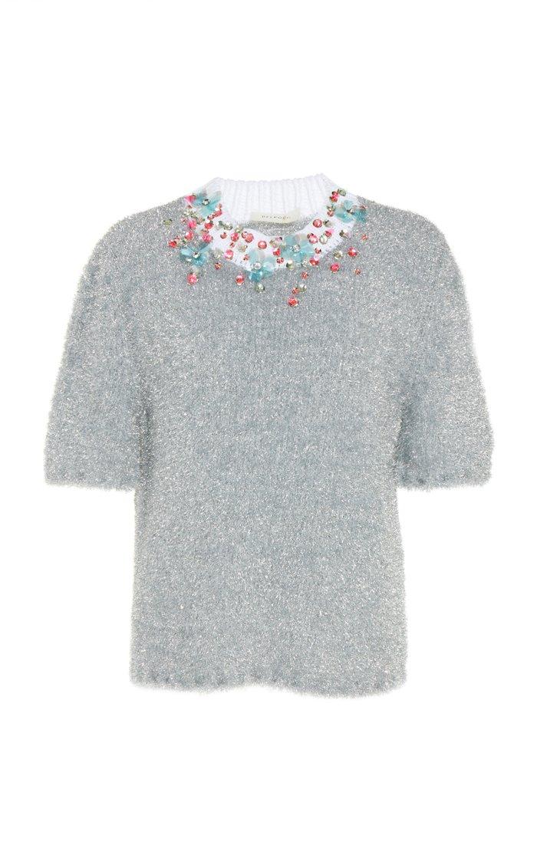 Embroidered Lurex Crewneck Sweater